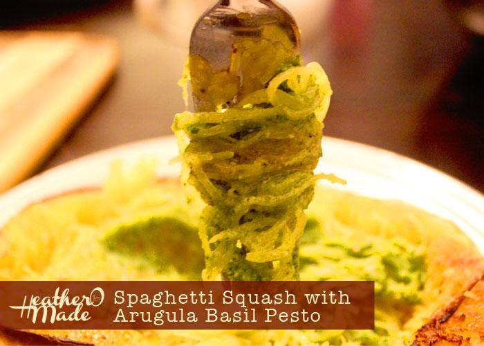 Spaghetti Squash with Arugula Basil Pesto. recipe. gluten-free.
