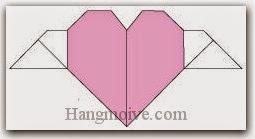 Bước 10: Hoàn thành cách xếp trái tim có cánh bằng giấy theo phong cách origami.