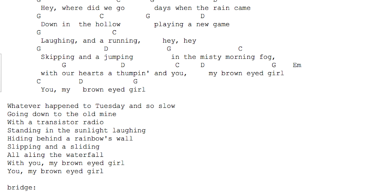Brown Eyed Girl Chords Sasic Music Blog