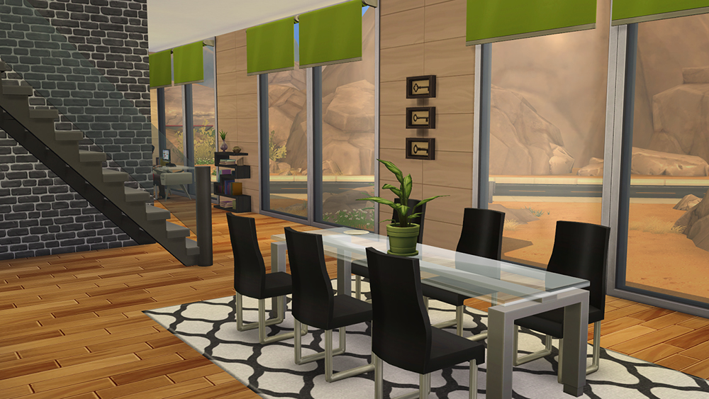 Affordable modern home sims 4 houses for Dining room ideas sims 4