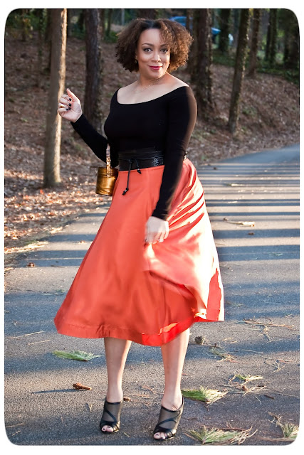 Erica B.'s DIY Style - Orange Midi Skirt