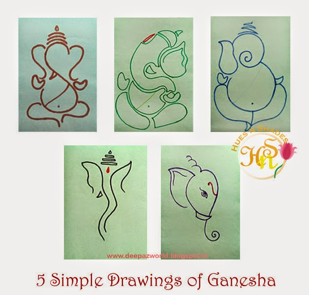 5 simple drawings of ganesha hues n shades