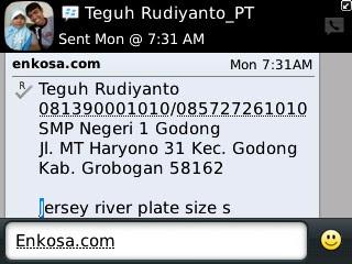 Konfirmasi alamat lengkap Teguh Rudiyanto