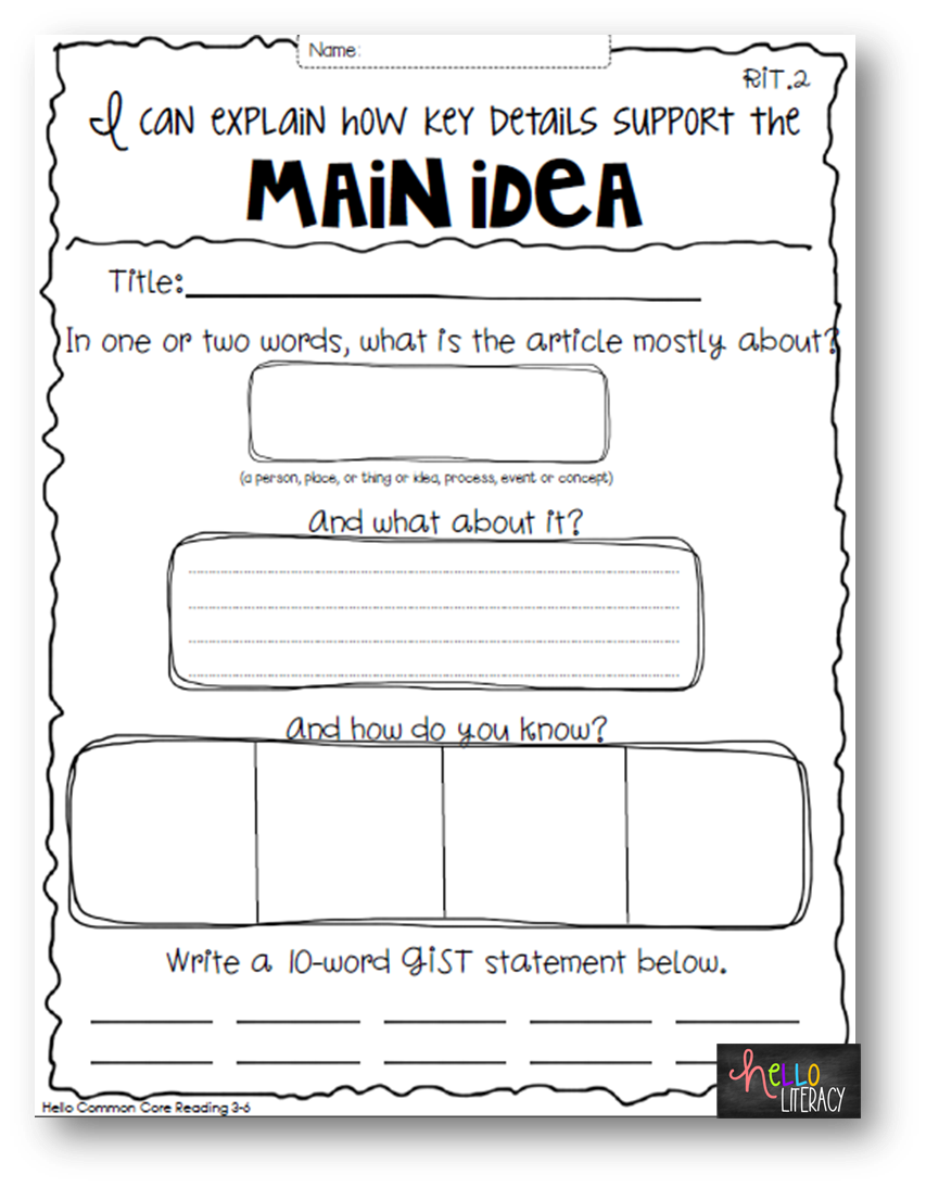 So Whats the Big Deal Getting to the Main Idea Key Details – Main Idea Details Worksheet