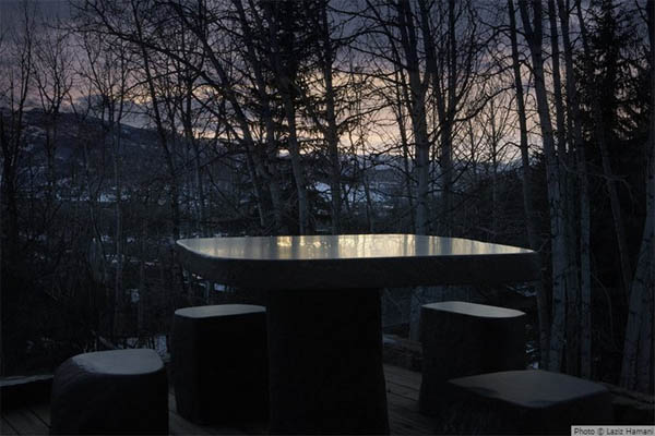 terraza de invierno en casa montaña