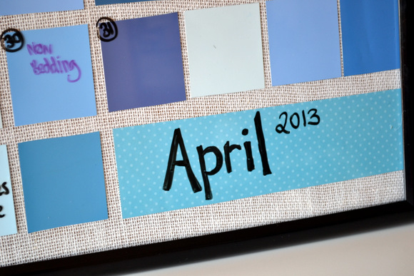 Fill in the dates and info on the outside of the frame with a dry erase marker