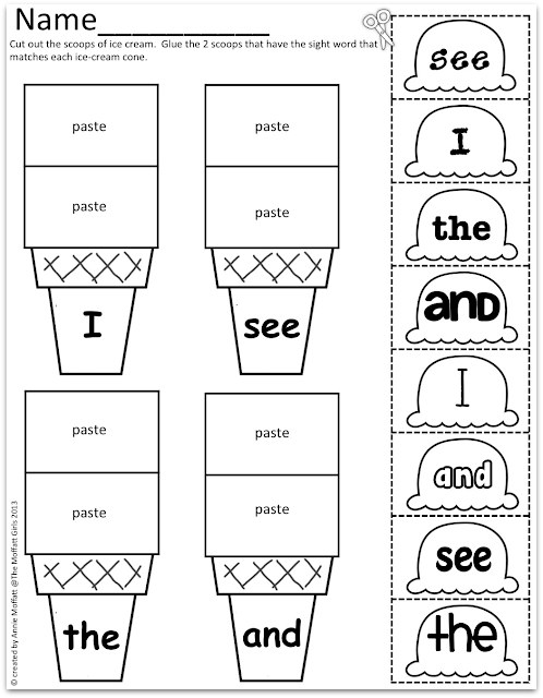 Word Scoops! k sight  pre word activities Sight