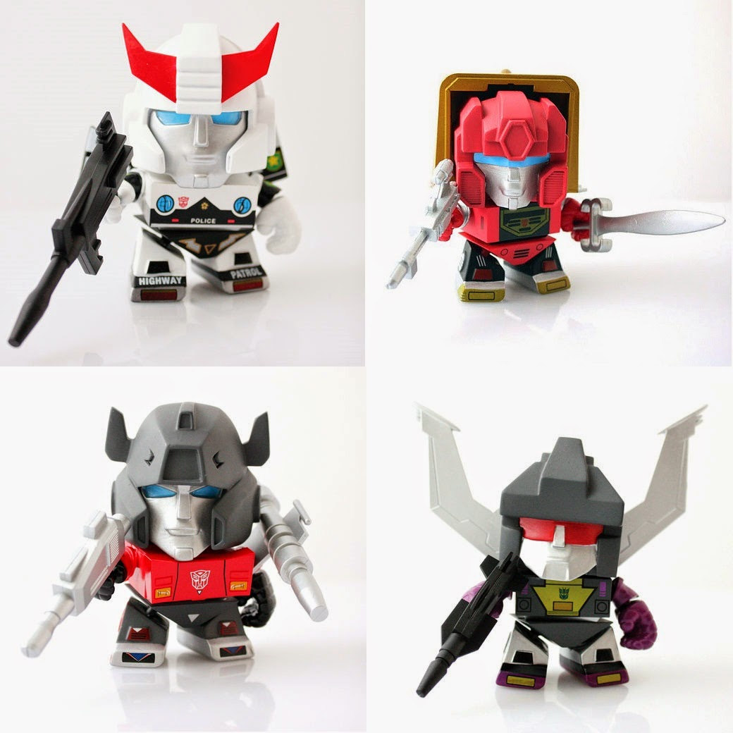 Gamestop Exclusive Transformers Mini Figures by The Loyal Subjects - Prowl, Slag, Sideswipe & Shrapnel