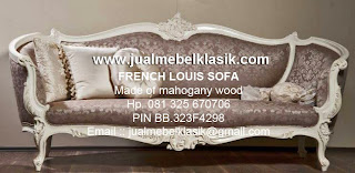 Supplier mebel klasik french style sofa ukir french style mahoni finishing white painted duco