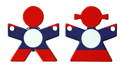 magnets - two people done in red, white and blue