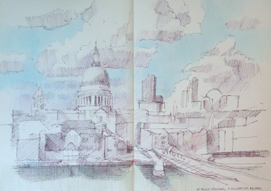 Sketch of City of London, St Paul's cathedral andMillennium Bridge in pen and ink
