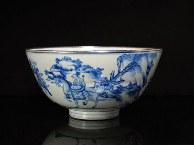 """<img src=""""Rare kangxi bowl .jpg"""" alt=""""With Horses and Sterling silver rim """">"""