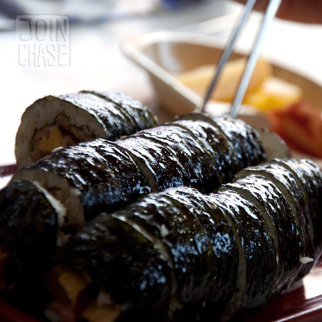 Freshly made kimbap in Jinju, South Korea.