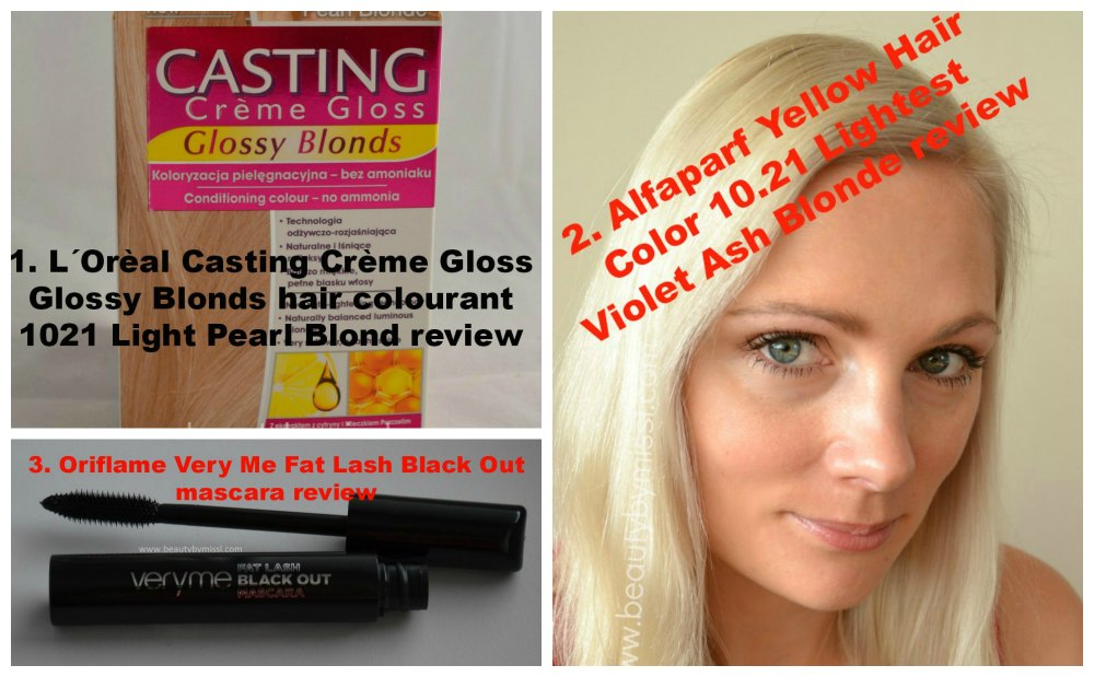 Oriflame Very Me Fat Lash Black Out mascara, Alfaparf Yellow Hair Color 10.21 Lightest Violet Ash Blonde, L´Orèal Casting Crème Gloss Glossy Blonds hair colourant 1021 Light Pearl Blond