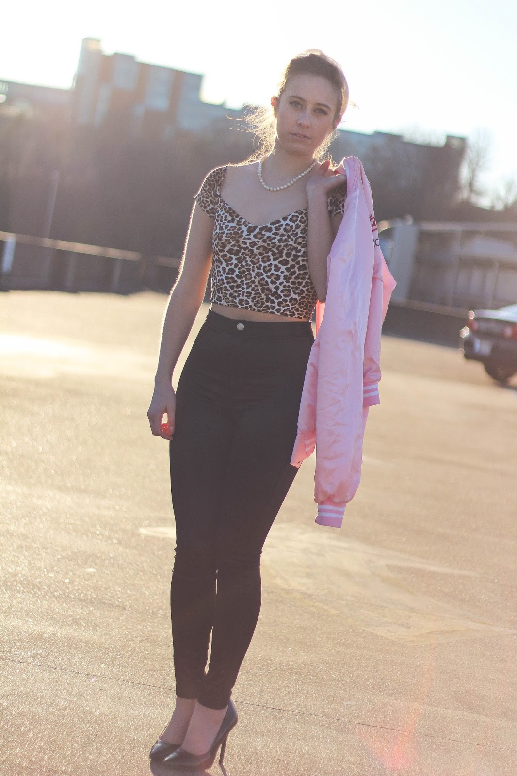 50's, Retro, Outfit, Pink Ladies, Disco Pants, Classy, Fashion Blogger, Personal Style, High Waist Pants, Rockabilly, Film, Movies, Vintage, Grease, Girly, Femme Fatale, Bardot Top, Cheetah Print, Crop Top, Asos, Forever 21