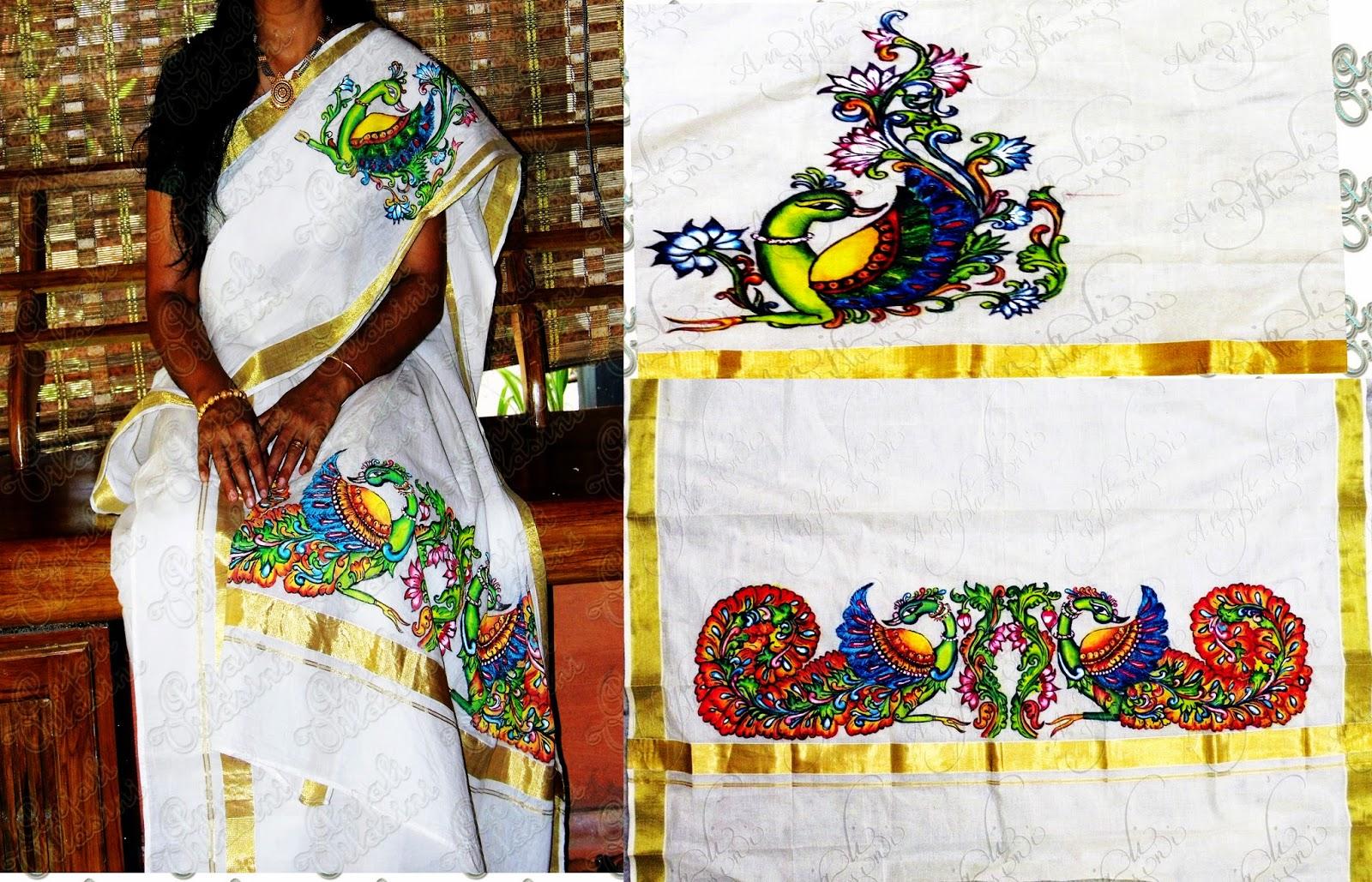 Anjali Vilasini: peacock design on Kerala saree for Fabric Painting Designs For Kerala Sarees  174mzq