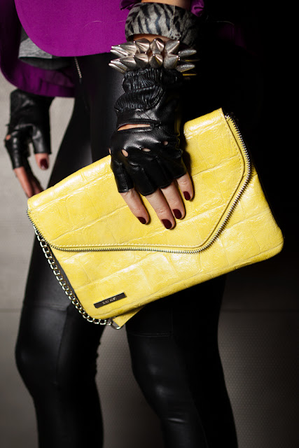 Nine+West+neon+clutch,+Dale+Janee+Steliga,+Savvy+Spice+fashion+blog,+F21+leather+pants,+spiked+bracelet,+Aldo+leather+fingerless+gloves