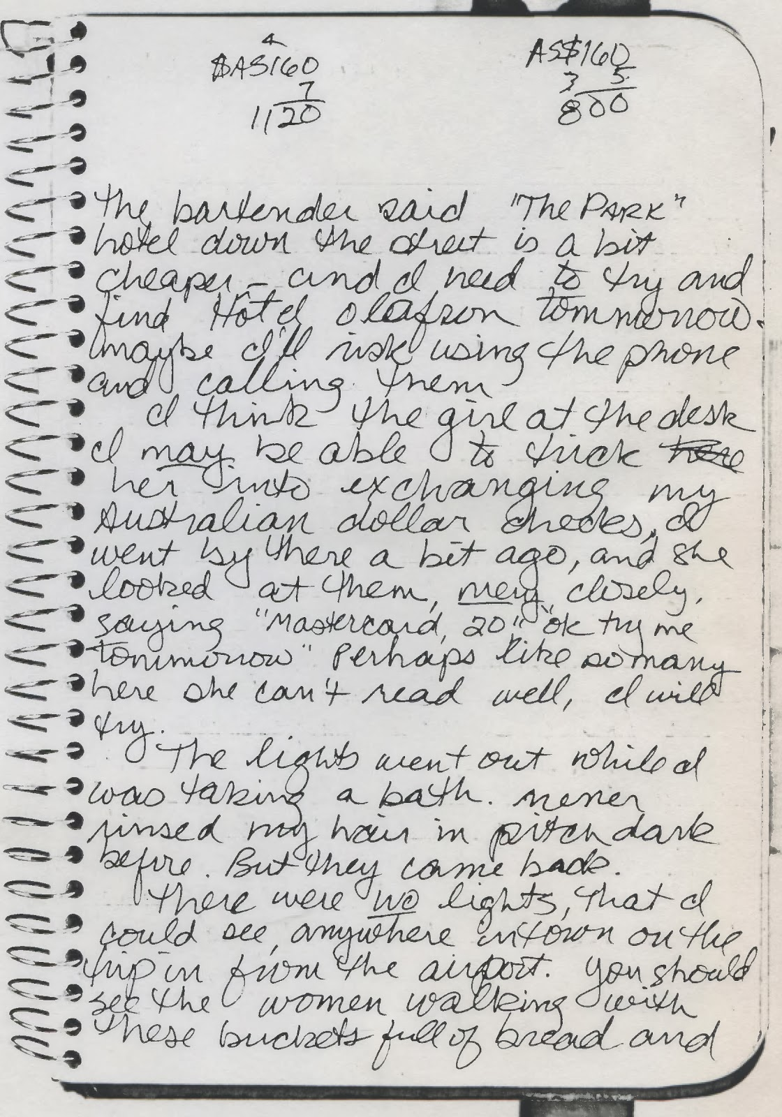 va d w  diary entries apx 1991