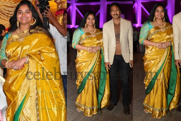Gopichand Wife in Mustard Silk Saree