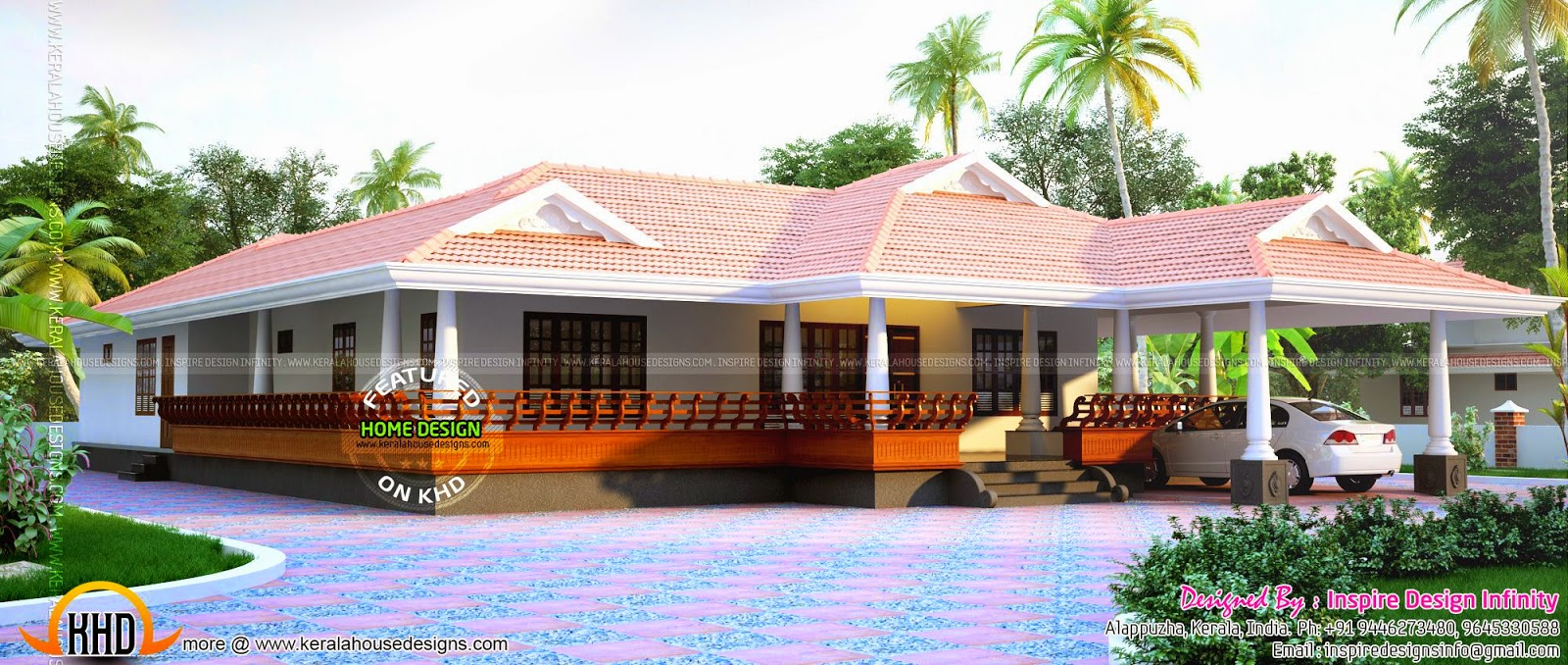 Wide Single Storied Sloped Roof Villa Kerala Home Design