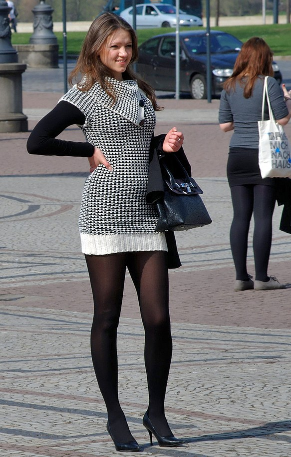 Black Opaque Tights With Dress Sex Porn Images
