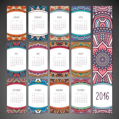 Stock Vector Template Calendar 2016 01
