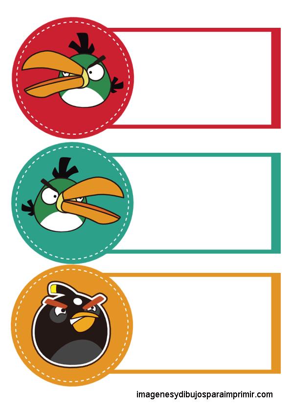 Para Cuadernos Angry Birds Etiquetas De Colores Para Cuadernos
