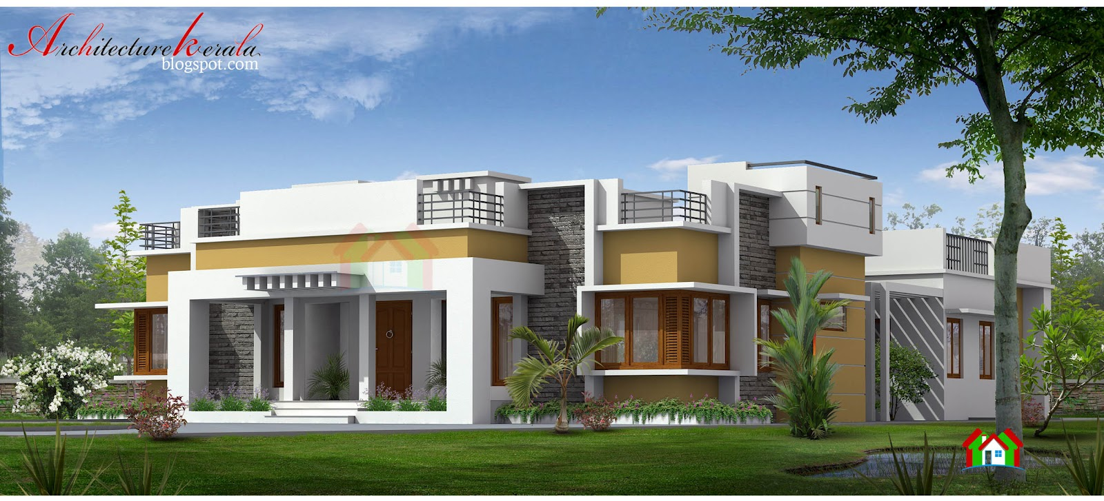 Architecture kerala 5 bedroom big kerala house elevation for Kerala building elevation