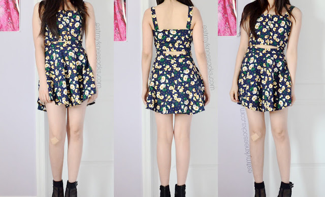 Front and back views of the navy spaghetti-strap floral cutout skater suspender dress from SheIn, paired with black wedges for a summer OOTD.