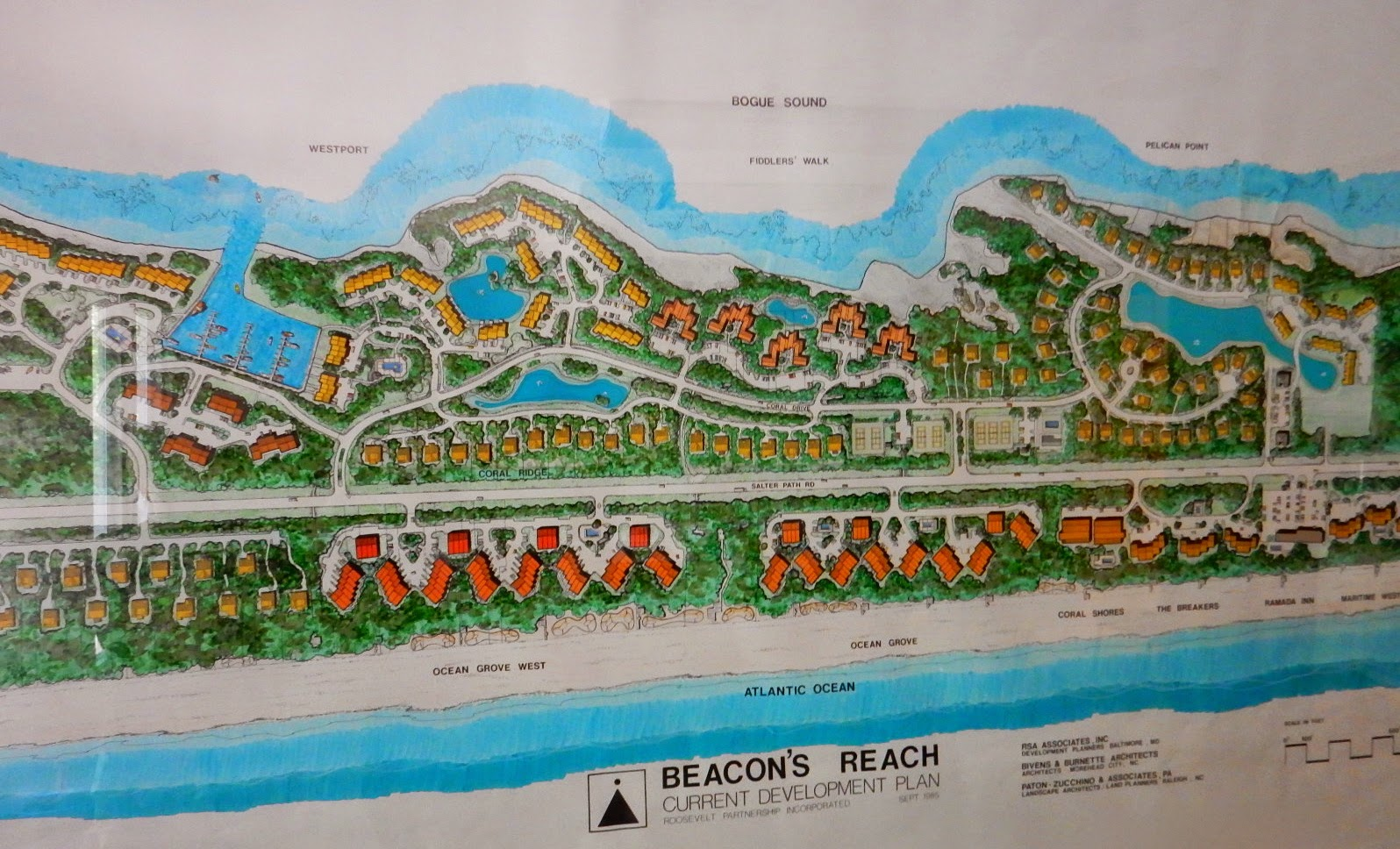beacon s reach 1985 planning map on conference room wall in property management office