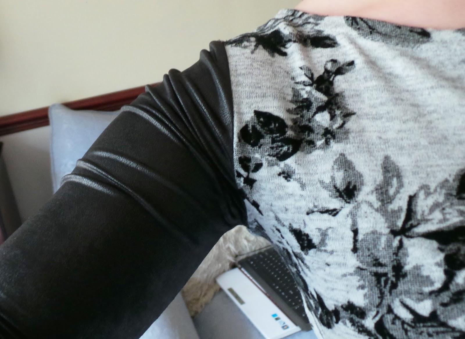 OOTD Blog Post, Fashion - Floral Skater Dress, Primark Dress, Primark £5 Dress, Leather Look Sleeves