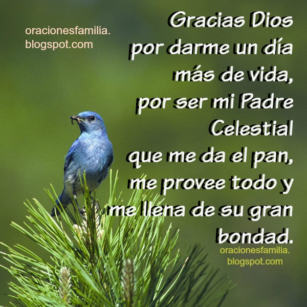 Oración corta de inicio del día, plegaria, gracias a Dios,