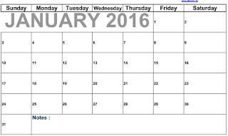 Kalendar January 2016 Blank to print