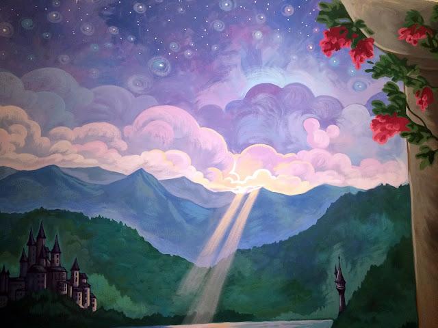 princess mural, disney princess mural, disney mural, castle mural, castle balcony mural