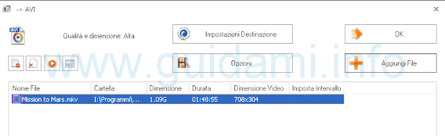 Format Factory opzioni video
