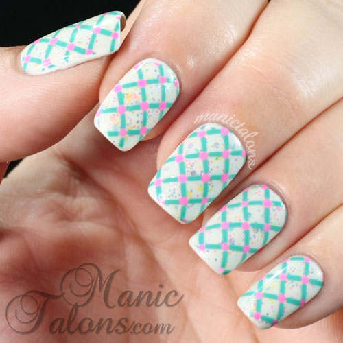 lattice and dots manicure, gel polish, stamping nail art