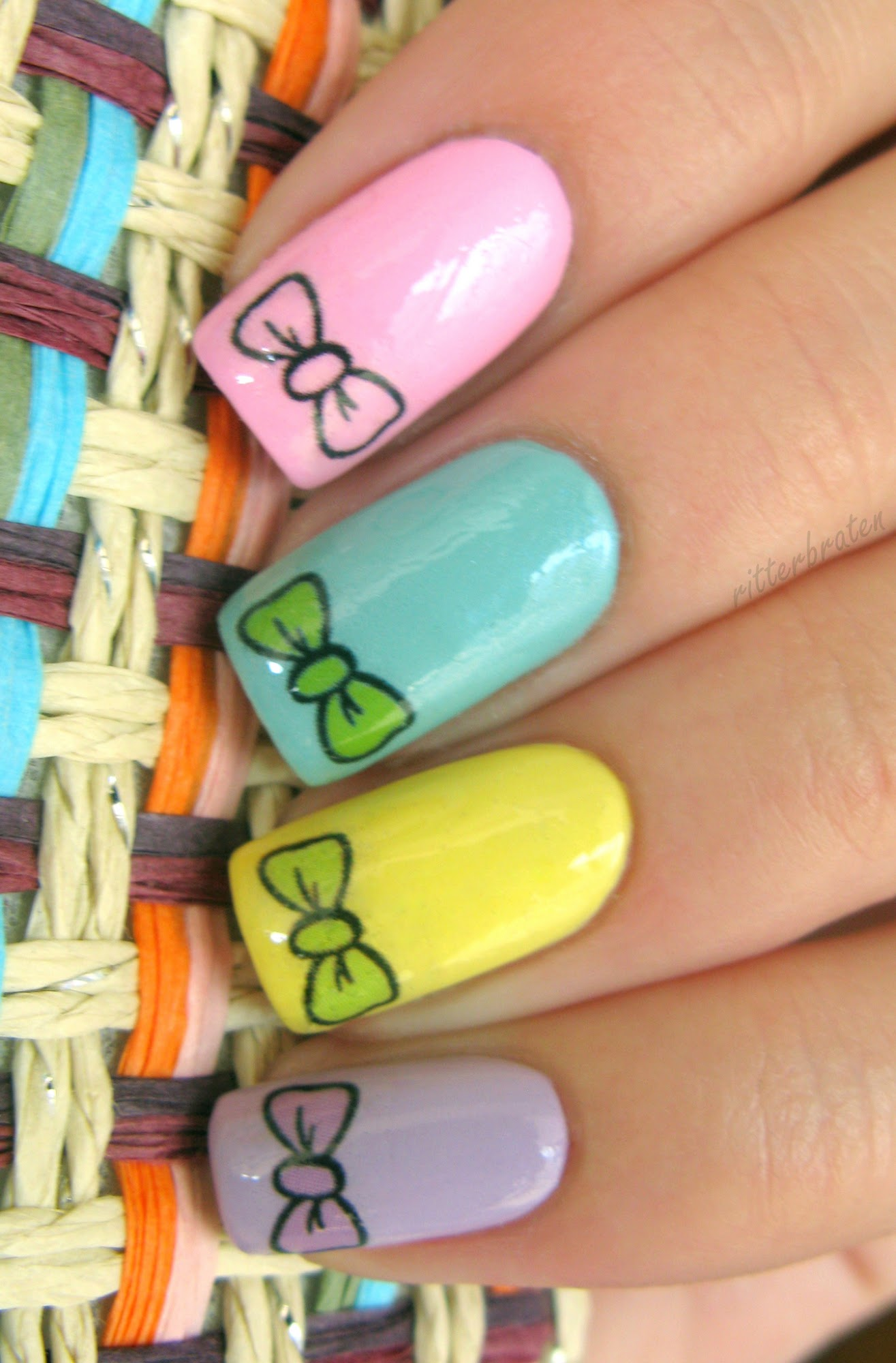 bows nail decals stickers