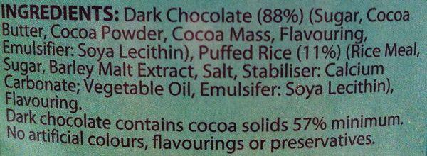Aldi Choceur Mint Dark Chocolate Waves vegan ingredients