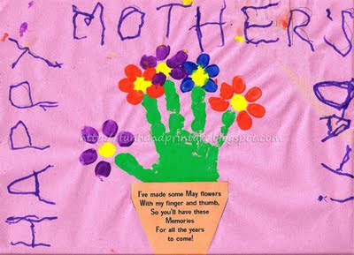 Handprint & fingerprint flowers in a pot with poem for Mother's Day