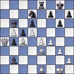 Partida Alekhine - Valles en el IV Torneo Internacional de Ajedrez de Sabadell 1945, posición después de 26...Axb2!