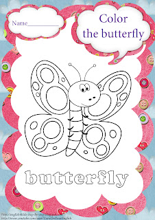 butterfly coloring for teaching esl