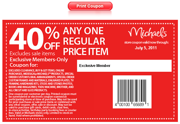 Michaels coupons july 2019