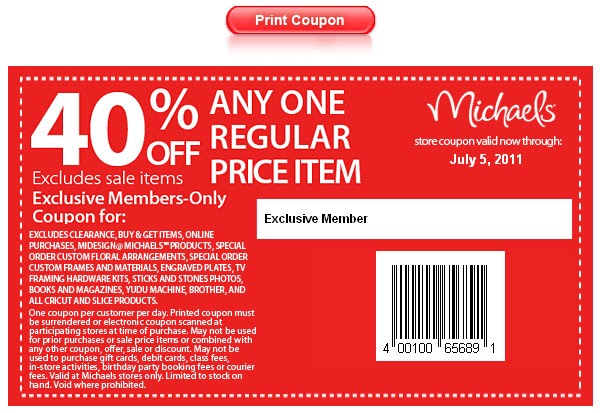 Michaels in store coupon code