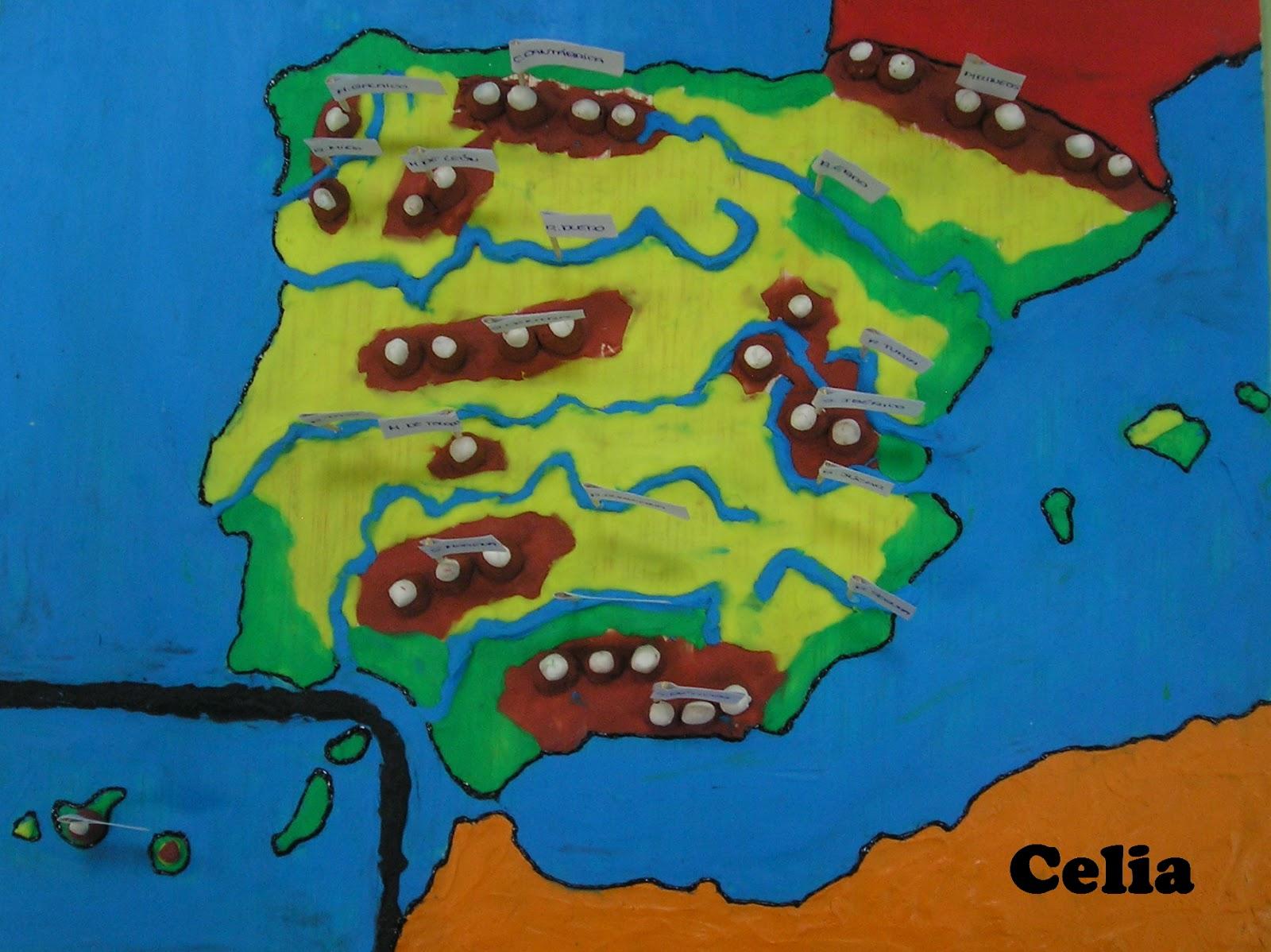 Recursos para la clase Mapa de Espaa con plastilina