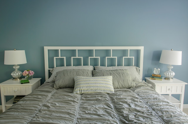 DIY Headboard, Master Bedroom, Sherwin Williams Poolhouse