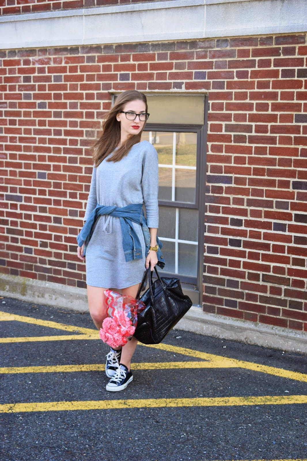 Wearing Firmoo non prescription glasses, Caslon drawstring sweat shirt dress, converses with a dress, denim jacket