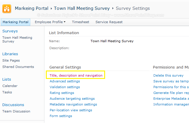 sharepoint survey hide created by