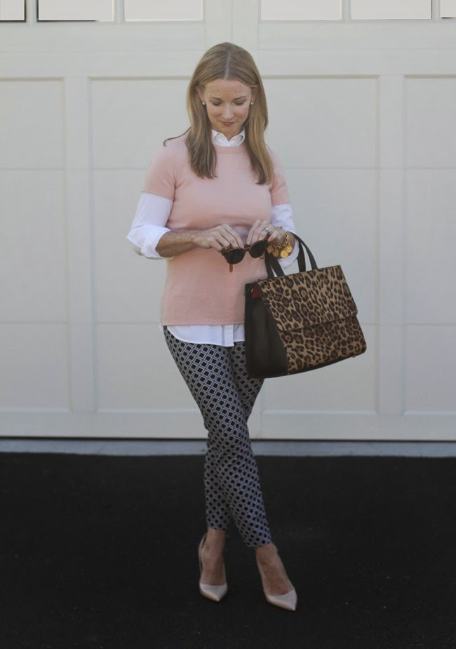 loft tunic shirt, jcrew cashmere tee, old navy pixie pants, boden leopard bag, kate spade nude heels