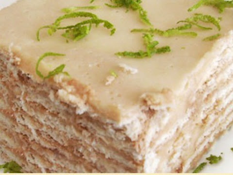 Torta rellena de crema de limon
