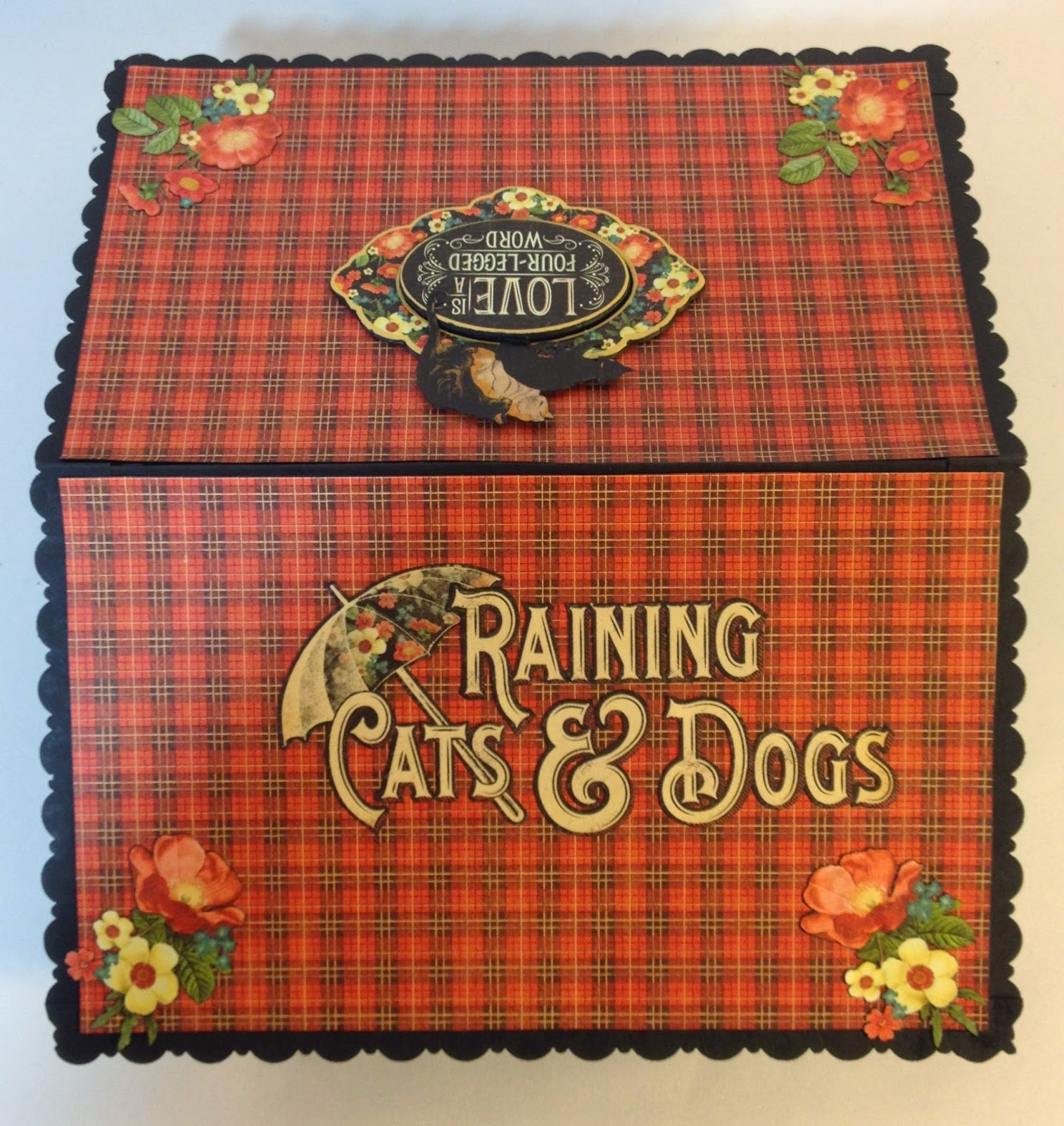 Scrapbook paper dogs - Annes Papercreations Graphic 45 Raining Cats And Dogs Roof Mini Album Tutorial Finish Part